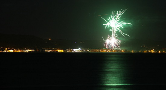 New Year fireworks at Beaumaris taken from the Llandygai shore