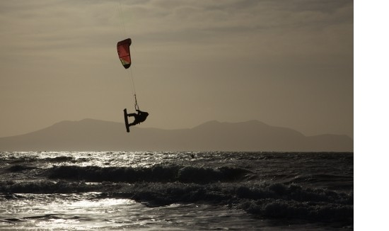 Kite surfers at Llanddwyn beach