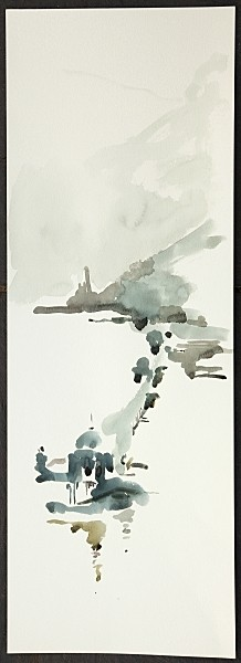 Watercolour by Graham Mills  'Bangor Pier'