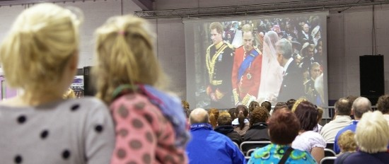Images from the televised Royal Wedding at Mona showground, Anglesey