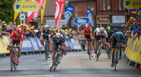 Aviva Tour of Britain Cycle race 2015. Stage 1 wim at Wrecsam
