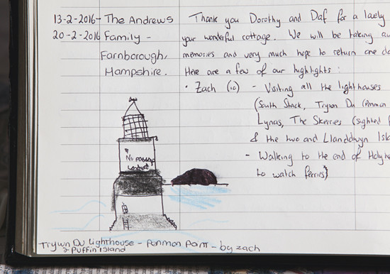 Drawing of Puffin Lighthouse, Anglesey: by Zac.