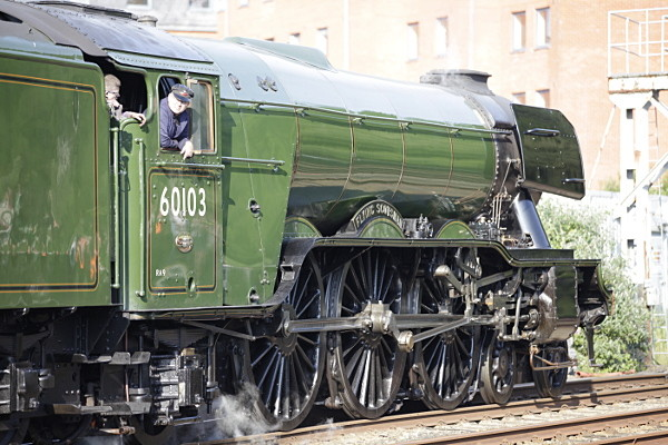 Flying Scotsman locomotive standing at Bangor station. 15th June 2016