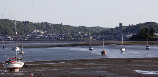 Image of the shoreline at Beaumaris with yachts on moorings