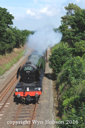 Flying Scotsman approaches Myfyrian bridge on Anglesey. June 2016. Copyright Wyn Hobson