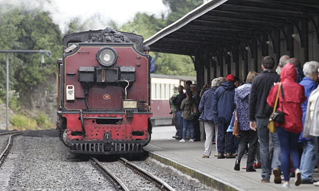 Welsh Highland Railway train arrives in Caernarfon