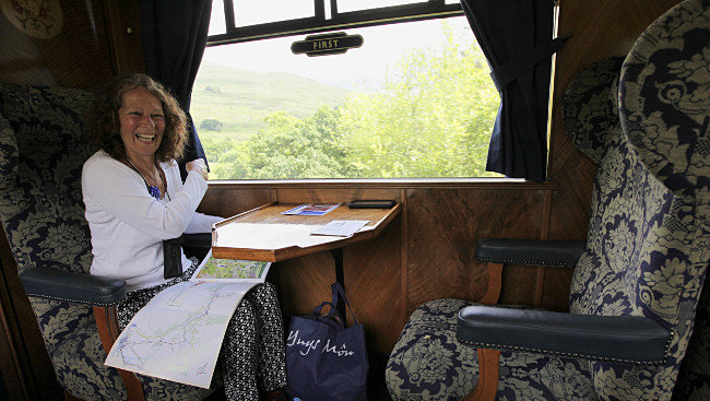 An excited Dorothy in First class on the Welsh Highland Railway