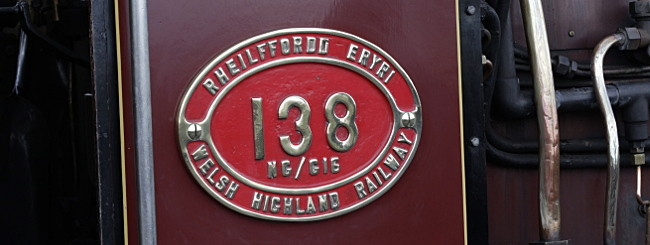 Welsh Highland railway name plate on the cab of the locomotive