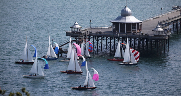 Fife class sailing yachts racing by Bangor Pier
